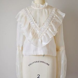 Vintage Ivory High Neck Puff Sleeve Top